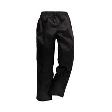 CHEF TROUSERS - BLACK ZIP SMALL
